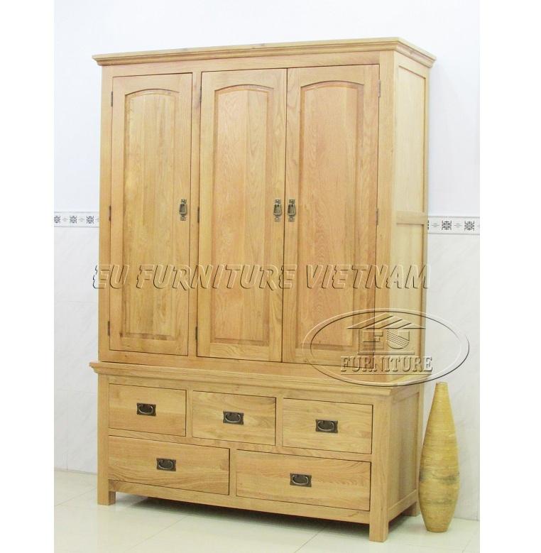 Tủ áo gỗ sồi Mỹ- tu quan ao go soi 3 buong (2)