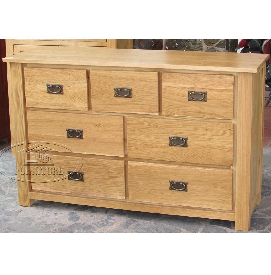 Tủ 7 ngăn kéo gỗ sồi Mỹ
