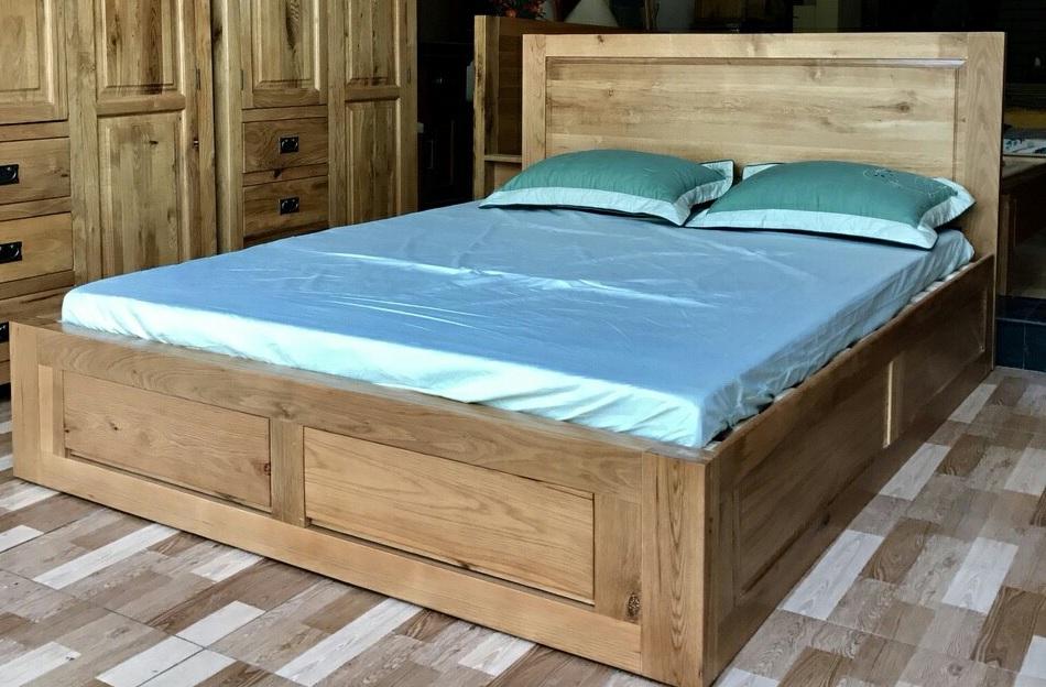 giường ngăn kéo gỗ sồi Mỹ