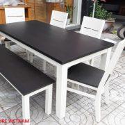 bàn ăn gỗ tự nhiên màu trắng (2)