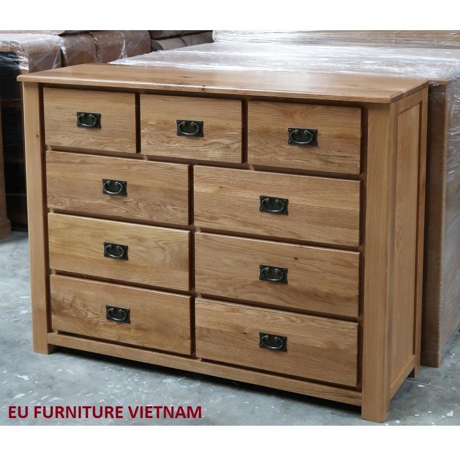 tủ 9 ngăn kéo gỗ sồi Mỹ