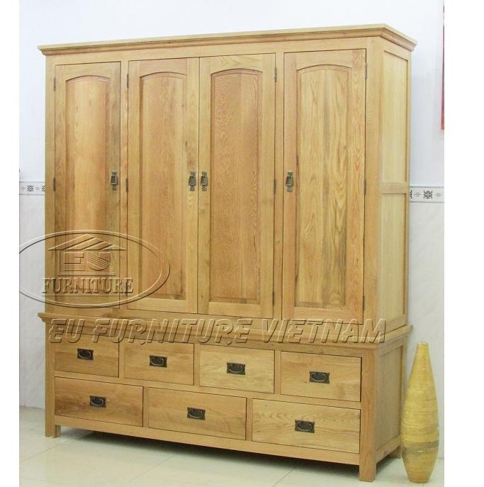 tủ áo gỗ tự nhiên 4 buồng - tủ áo gỗ sồi Mỹ 4 cánh