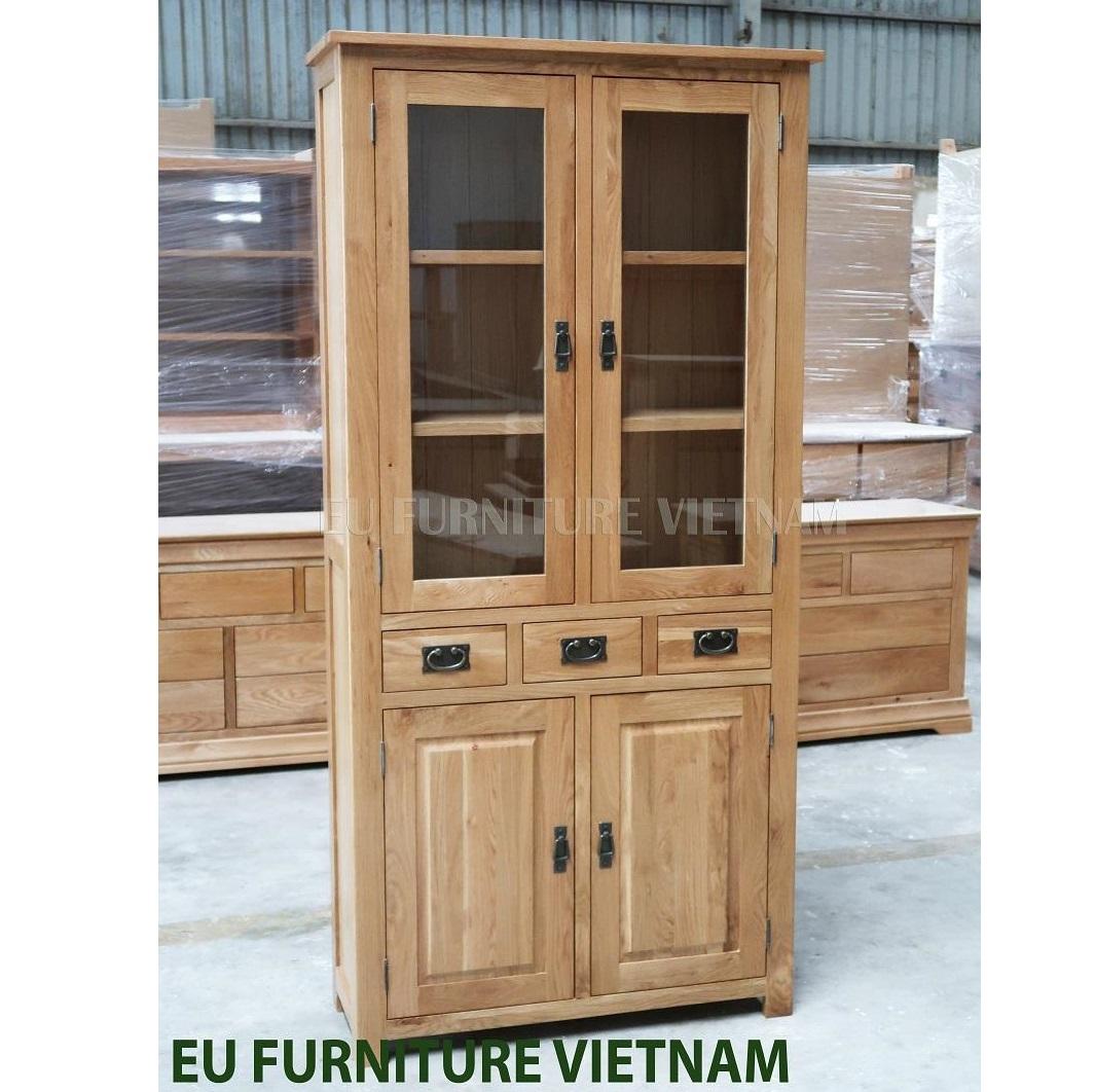 tủ trưng bày kệ sách gỗ sồi Mỹ (2)
