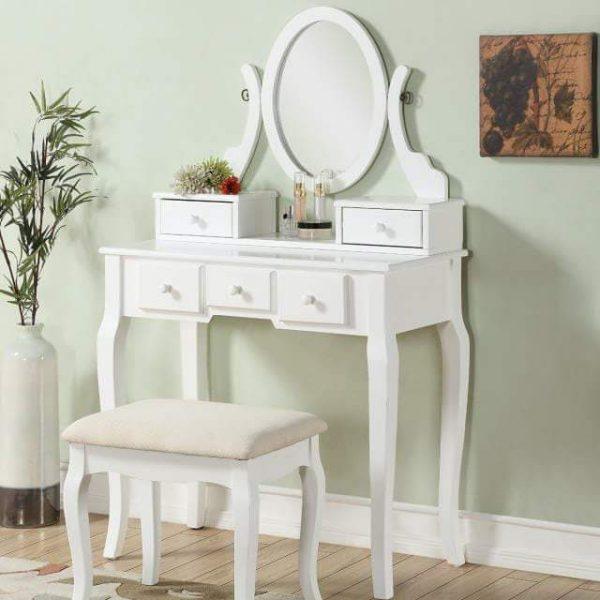 bộ bàn trang điểm màu trắng lemont