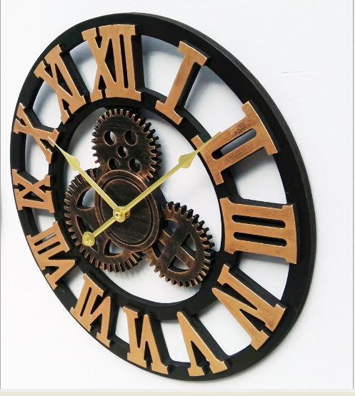 đồng hồ bánh răng chữ la mã màu vàng đồng