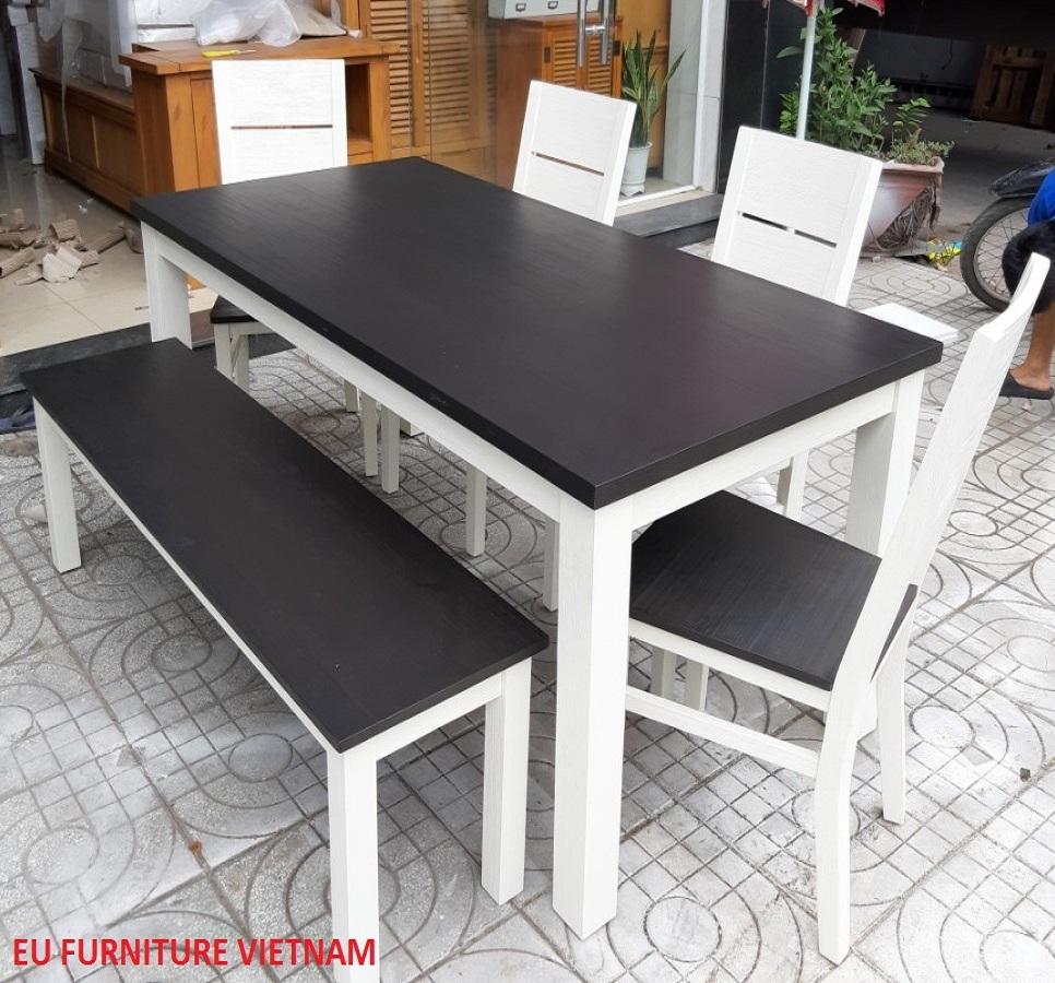 bàn ăn gỗ tự nhiên màu trắng (2) - Copy