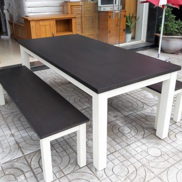 bàn ăn gỗ tự nhiên màu trắng (3)