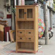 Tủ trưng bày kệ sách gỗ sồi Mỹ