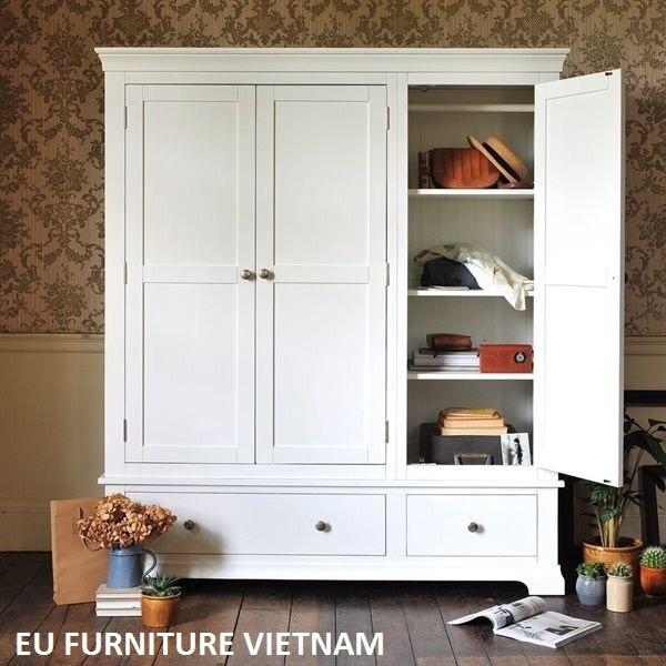 Tủ áo gỗ sồi sơn trắng