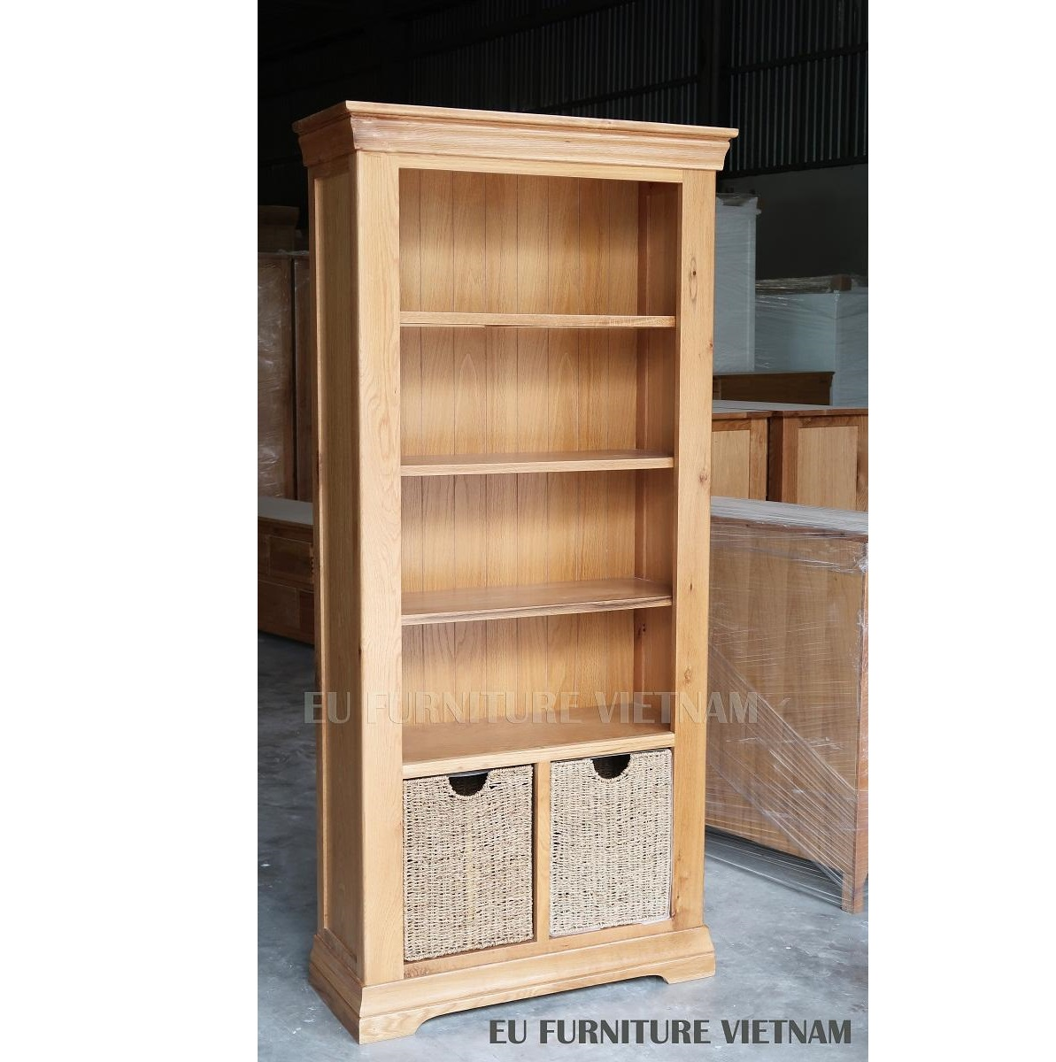 tủ trưng bày kệ sách gỗ sồi Mỹ (7)
