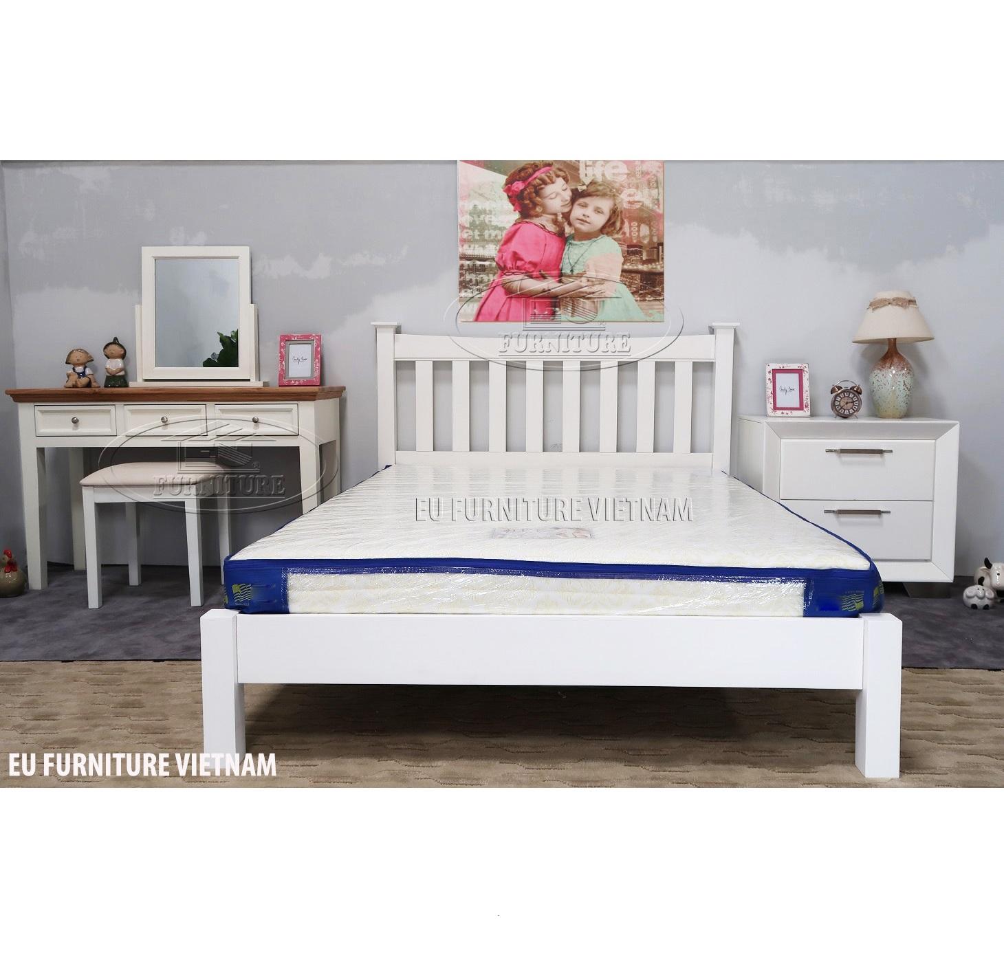 Giường ngủ gỗ sơn trắng Valencia