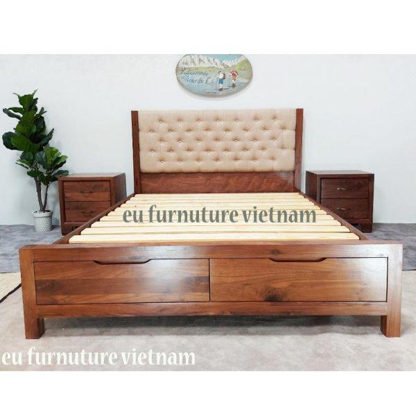 giường ngủ xuất khẩu gỗ óc chó walnut (4)